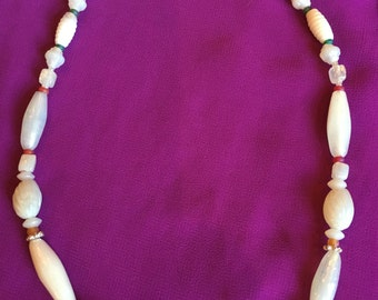 Milky White Glass Bead Necklace