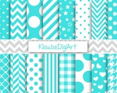 Turquoise Blue and White Printable Digital Paper Pack with Chevrons, Polka Dots and Stripes for Personal and Small Commercial Use (0060)