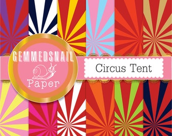 Circus digital scrapbook paper 12 papers circus tent, circus backgrounds