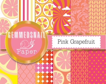 Pink and orange digital paper, pink grapefruit digital paper, tangy sweet citrus backgrounds