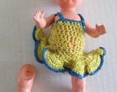 Vintage 1940 Celluloid Doll Horlave Czechoslovakia? Yellow Crochet Dress Handmade