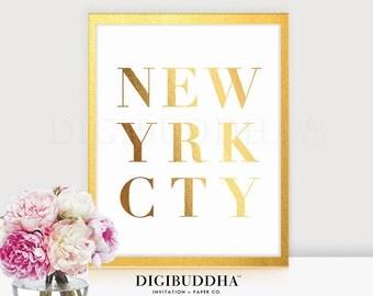 NEW YORK CITY Gold Foil Print 8x10 or 5x7 City Urban Art Manhattan New Yrk Cty Wall Art Brooklyn Queens Bronx Office Glam Desk Decor C13