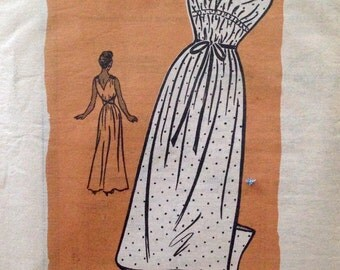 "Vintage 1940s Anne Adams Misses' Grecian Nightgown Pattern 4651 Size 16 (34"" Bust) FF"