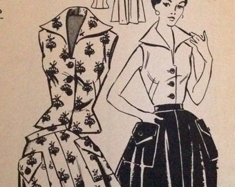 "Vintage 1950s Fashion Service Mail Order Blouse and Skirt Pattern 3071 Size 12 (30"" Bust)"
