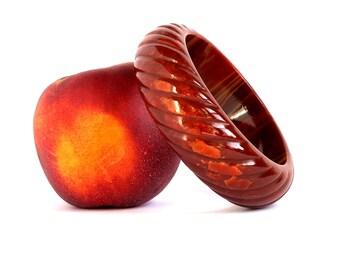 Fiery Scarlet Marbled Bakelite Rope Carved Marbled Bangle, Vintage Red Orange Twist Bakelite Chunky Bracelet
