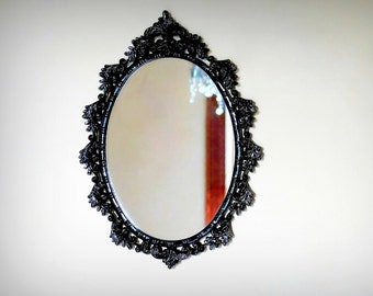 Vintage Midnight Black Ornate Wall Mirror in Glossy Noir Enamel