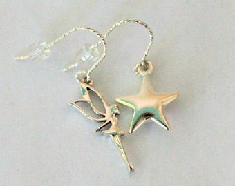 Peter Pan Tinkerbelle Neverland Earrings in Solid Sterling Silver Second Star Right
