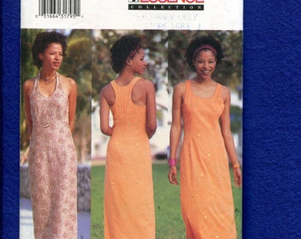 Butterick 6637 Elegant Evening Length Sun Dress with Cutaway Arm or Halter Neckline Size 6..8..