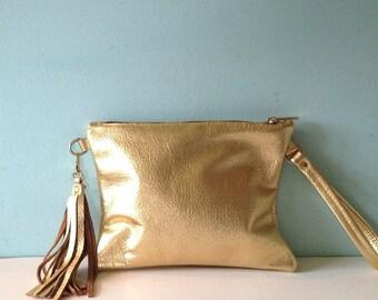 Gold leather clutch, metallic leather wristlet purse, bright gold clutch bag