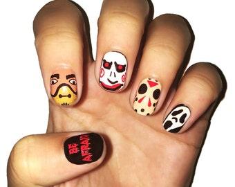 Be Afraid Nail Polish Strips. Movie Monster Halloween Nail Wraps.