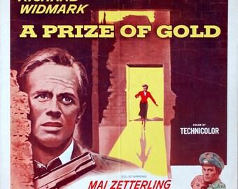 "Prize of Gold, The. 1955 Original 14""x 17.25"" US Movie Poster. Richard Widmark, Mai Zetterling, Nigel Patrick, George Cole."