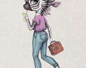 Domino - A5 Super Luxe Art Card - Inspired by Zebras, Optimism, Character Design and Anthropomorphism