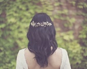 Bridal vine headpiece, wedding crystal hair comb, wire wrapped hairpiece, bride hair accessories, frosted leaf, silver and gold - Style 231