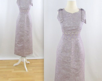 Starlight Evening Dress - Vintage 1960s Formal Wiggle Dress in Silver + Mauve - Size Medium