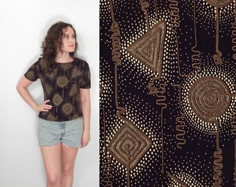 Metallic SQUIGGLES Top Black Geometric Pullover Slinky 1990s Size S / M