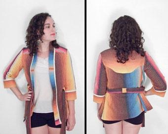 SERAPE Rainbow Cardigan 1970s // Saltillo Mexican Blanket Sweater XS / Small