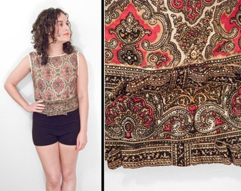 PAISLEY Crop Top 1960s // Handmade Double Bow // Red Mustard Taupe Black Size M