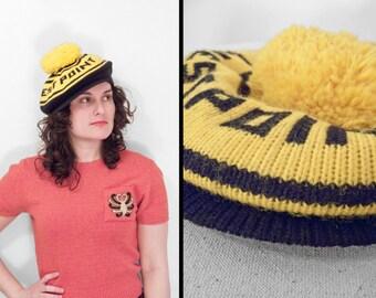 Visor Brim BEANIE // 1980s West Point Hat // Army Pom Pom Black Yellow