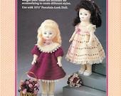 Vintage 1990 Fibre Craft Crochet Outfit To Fit A  11 1/2 Inch Porcelain-Look  Doll, Catalog No. FCM 214