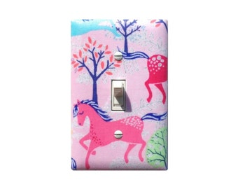 Pink Horse Switchplate / Sparkle Pony Tree Light Switch Plate Cover / Girls Room Bedroom Bathroom Decor / Timeless Treasures