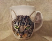 Custom Pet Portrait, coffee mug, one pet Hand Painted mug