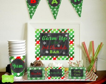Hot Chocolate Bar Printables - Hot Cocoa Bar Printables -  Hot Cocoa Party Kit - Christmas Party Printables - Instant Download