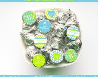 Wedding Chocolate Kiss Stickers - Engagement Candy Kiss Stickers - Wedding Candy Stickers - Digital & Printed Available