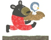 Print {Children's Illustration} - 21cm x 24cm: Little Xiong Bird - Black Bear and Baby Red Crowned Crane