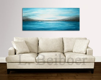 Large original abstract landscape painting panoramic art blue white modern abstract painting oil 20 x 50 by L.Beiboer