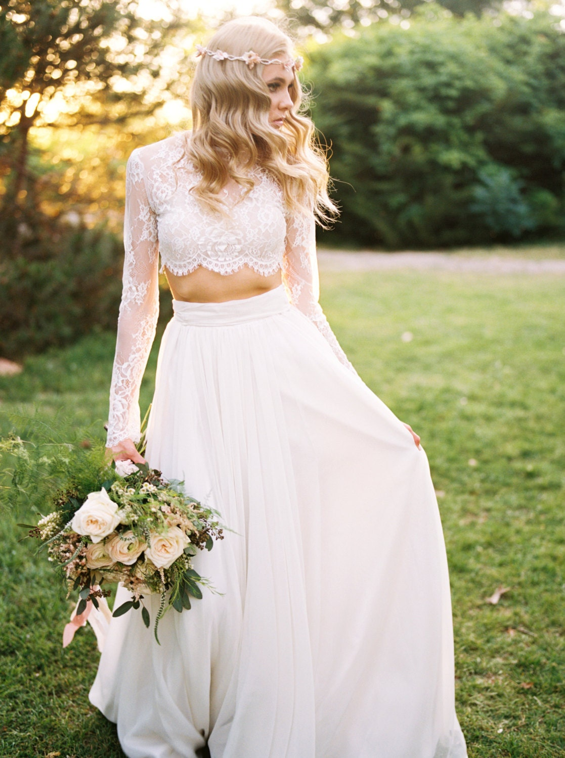 Wedding separate willow crop top lace crop top long for Crop top wedding dress