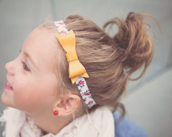 Baby Leather Bow Headband in Mustard and Floral