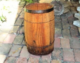 Vintage Wooden Barrel Rustic Nail Keg Farmhouse Decor