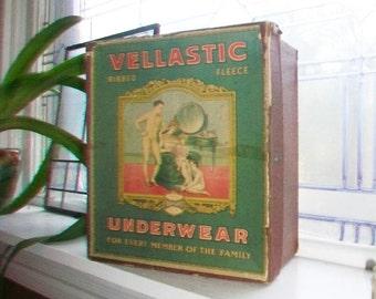 Vintage Vellastic Underwear Box General Store Display Circa 1910s