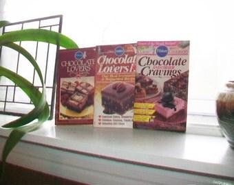 3 Vintage Chocolate Lovers Cookbooks by Pillsbury