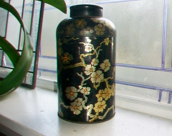 Antique Tea Tin with Special Lid Circa Late 1800s 8 Inch