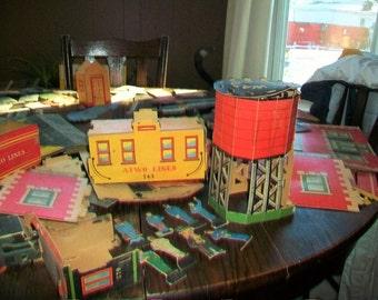 Vintage 1940s Cardboard Train Set Atwo City