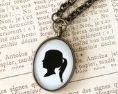 Mother's Day Custom Brass Oval Silhouette Pendant on Long brass chain for Mother or Grandmother
