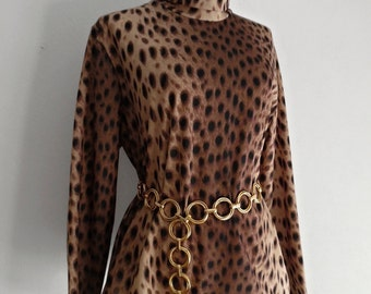 SALE :)))) THE CaT In You . xL L . Superb Spotted Cat Leopard Tiger Animal Print Shirt Turtleneck Polo Neck Mod Pullover Top Rare Larger Siz