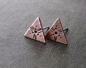 Copper triangle studs. Stamped copper earrings. Rustic patina contemporary modern geometric jewelry.