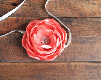 Wedding wrist corsage. Coral peony fabric flower tie corsage, choose your colors.