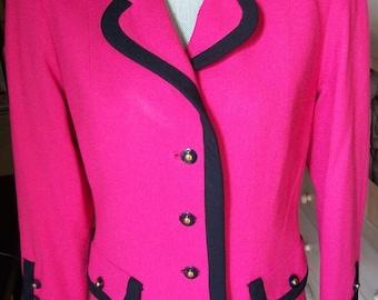 Vintage 1980s Hot Pink Black Trim Retro Chic Psychedelic Bohemian Avant Garde Blazer Sz M