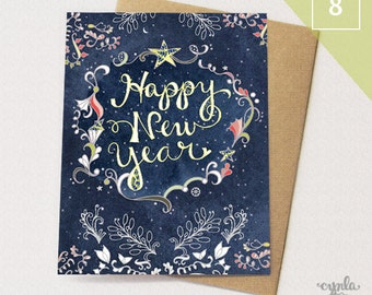 Starry Happy New Year BOX of 8 Greeting Cards - Happy New Year Cards, Paper goods, Stationery, Stars