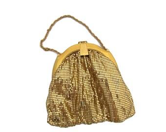 Whiting and Davis Mesh Purse Gold Mesh Handbag Vintage Purses Alumesh Metal Mesh 1930s 1920s Clutch Handbags Bags