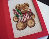 Christmas Card Bear Cross-stitch Holly Frameable Holiday Blank Card, Eco-Friendly, Thank You Card, All Occasion, Birthday Card Nursery Decor