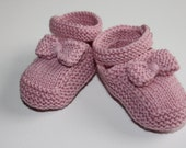 Hand Knitted Baby Girl Mary-Jane style Bootie shoe with bow to fit NB to 12mths in custom colour Made to Order