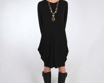 Jersey Dress with Center Front and Center Back Seam and Exaggerated Fulness Caviar Black Color and Long or Elbow Sleeve