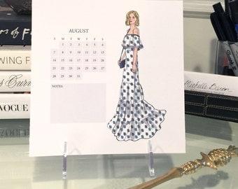 2016 Calendar, fashion illustration calendar, 7 by 7 inch desktop calendar, monthly calendar