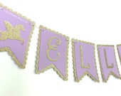 Unicorn Banner-Lavender & Gold Banner- Gold banner-Glitter Gold Birthday Banner-Unicorn birthday-Purple and gold birthday party decorations