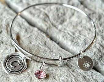 Initial Bracelet - Monogram Bracelet - Bridesmaid Gift - Bridesmaid Bracelet - Monogram Bangle - Initial Charm - Wax Seal Initial Charm
