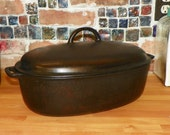 Antique GRISWOLD OVAL ROASTER Complete Pan Cast Iron Erie Pa No. 5 2630 and 2629